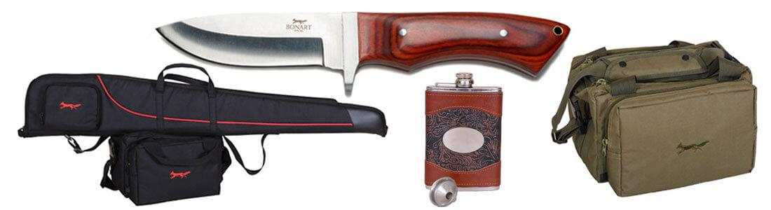 Bonart accessories - knives, gun slips, hip flasks